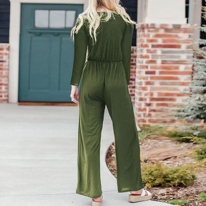 Maternity V-Neck Solid Color Long-Sleeve Jumpsuit