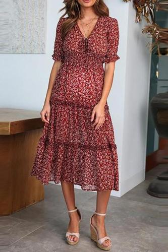 Maternity V-Neck Short-Sleeved Printed Sweet Dress