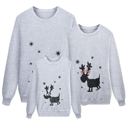 Parent-child Outfit Long Sleeve Deer Head Print Sweater Christmas
