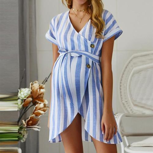 Maternity Fashion V Neck Stripe Belted Dress