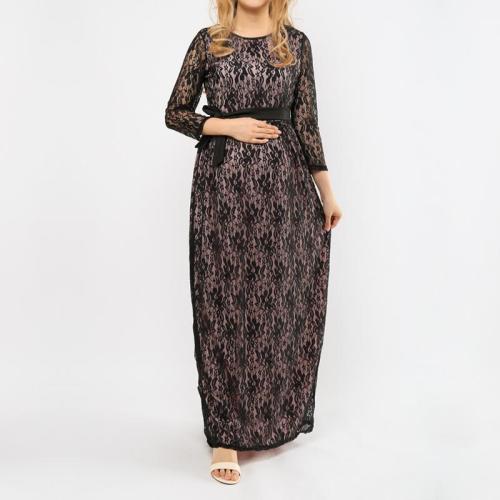 Maternity Lace 3/4 Sleeve Maxi Dress