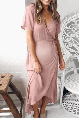 Maternity V-Neck Short Sleeve Asymmetric Daily Dress