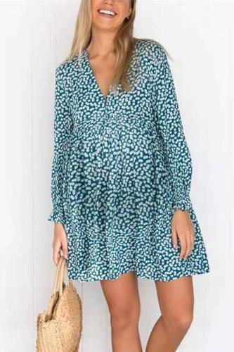 Maternity V-Neck Long-Sleeved Loose Print Dress