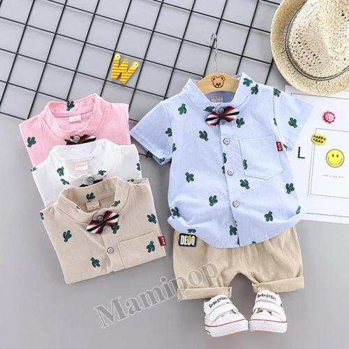 Children's clothing summer new boy cactus short sleeve bow shirt short pants
