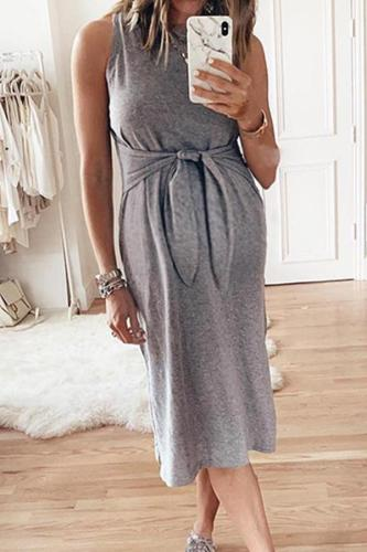 Maternity Plain O-Neck Sleeveless Tie Casual Dress