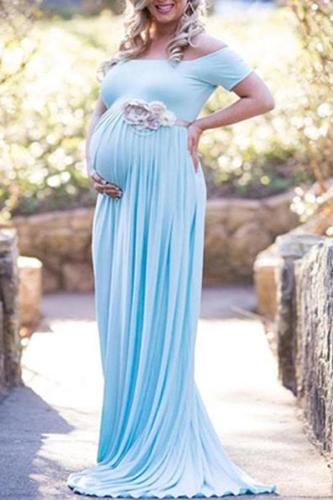 Slash Neck Short Sleeve Maternity Full Length Dress