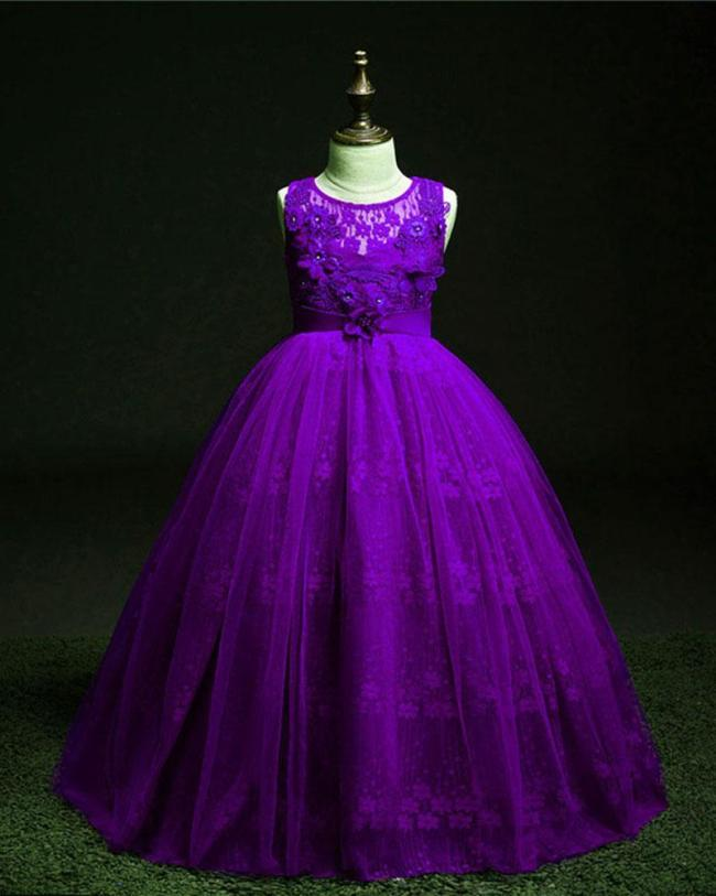 Embroidered Solid Color Evening Dress