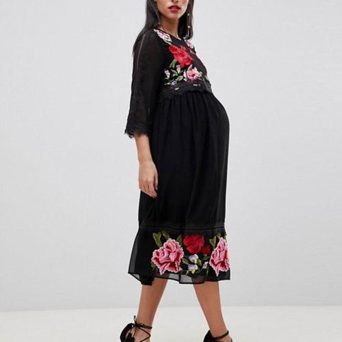 Maternity Mid Sleeve Printed Dress