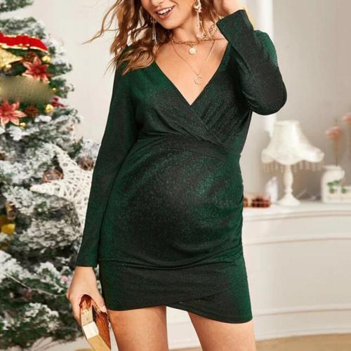 Maternity Chrismas deep v solid colour dress