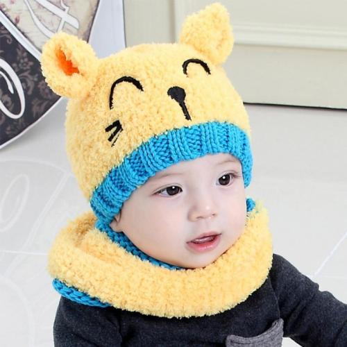 2Pcs Set Baby Autumn Winter Hat And Scarf Set Cap