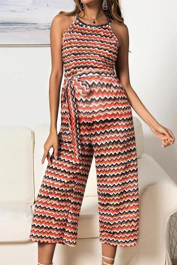 Maternity Casual Round Neck Sleeveless Printed Colour Jumpsuit