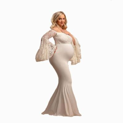 2020 Lace stitched silk cotton pregnant women lotus leaf-sleeve photography dress