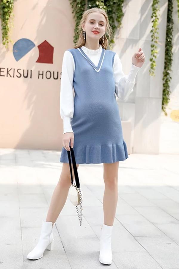 Fake Two-piece Knit Dress Pregnant Mother Autumn and Winter Base  Dress