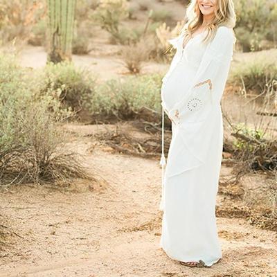 Maternity White Wedding Photoshoot Dress