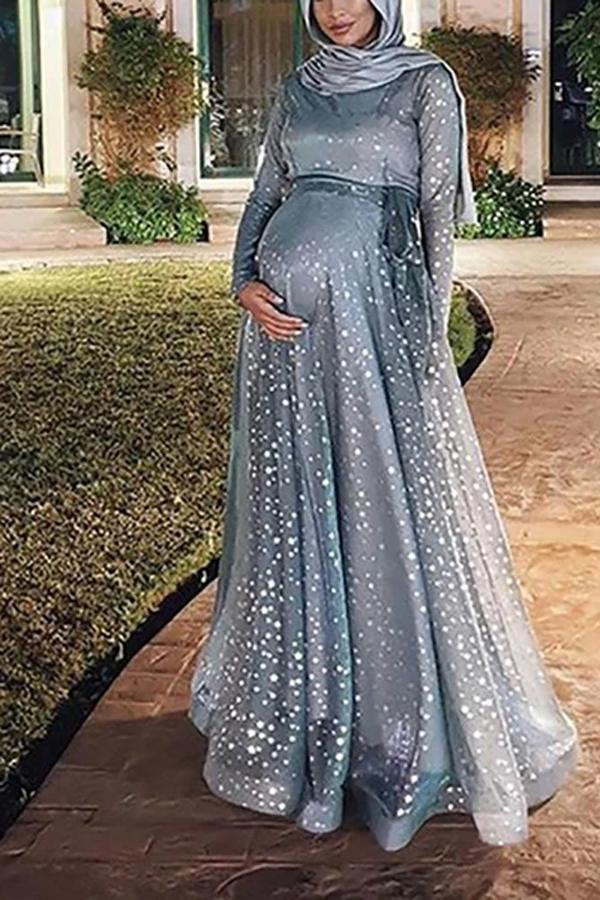 Maternity Dots Printed Long Sleeve Dress