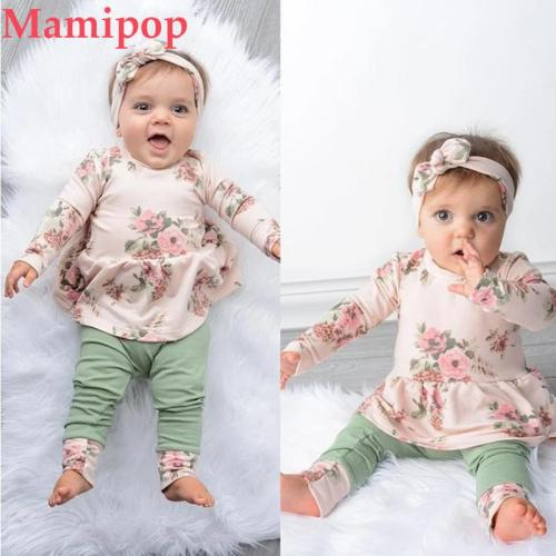 Infant Girl Clothing Long Sleeve Floral Tops Dress Pants Dot Clothes Set
