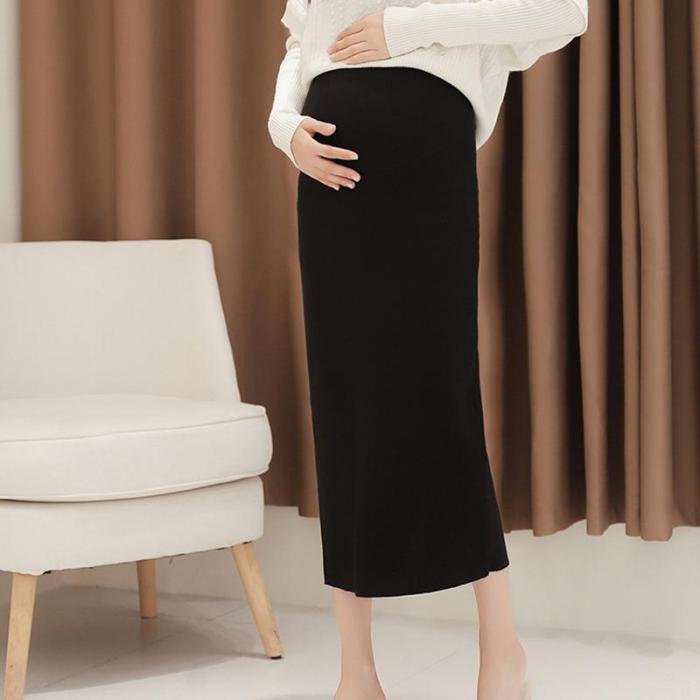 Maternity knit split skirt pure color hip skirt