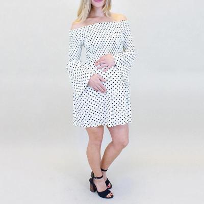 Maternity Polka Dot Off-Shoulder Ruched Dress