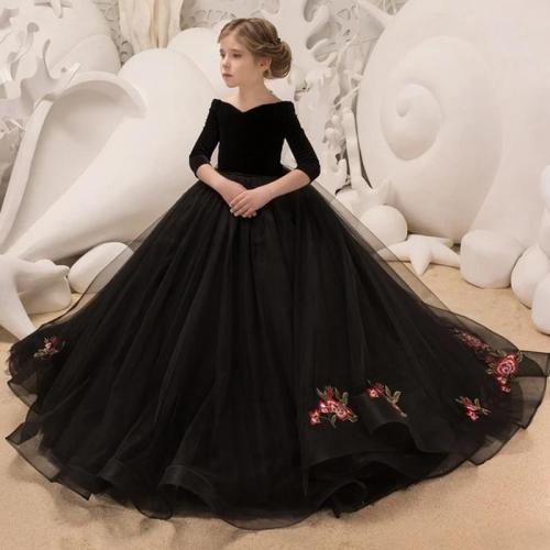 Children's wedding dress big tail evening dress girl princess dress