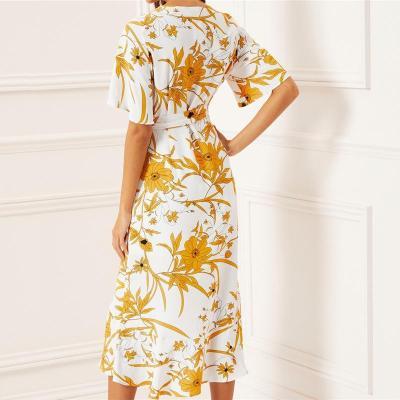 Maternity Print V-neck Short Sleeve High Waist Striped Irregular Dress