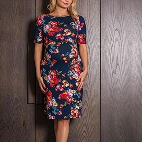 Maternity Elastic Waist Floral Dress