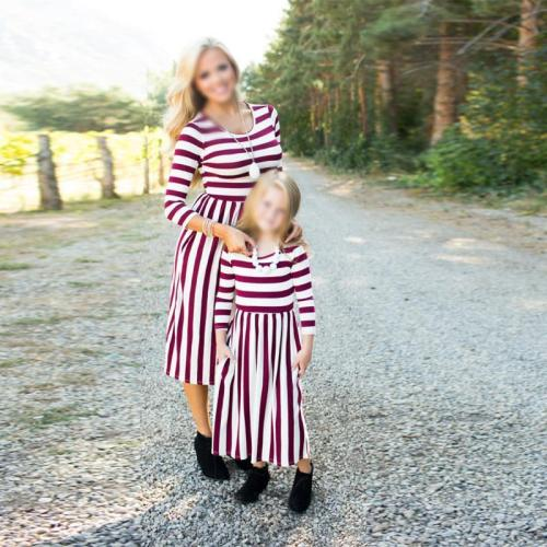 Mom Girl Striped Bracelet Sleeve Matching Dress