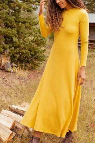 Fashion Solid Color Long Sleeve Maternity Dress