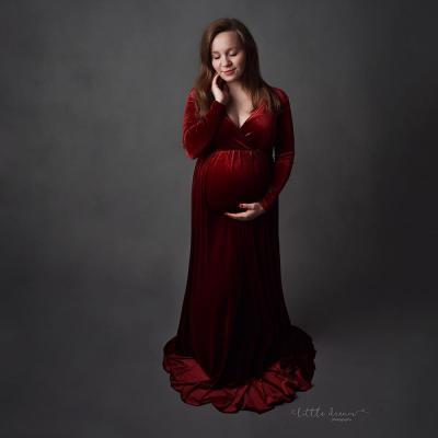 Velvet Maternity Dress For Photo Shoot