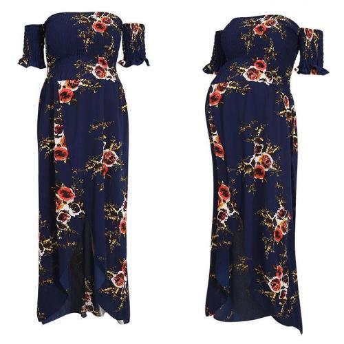 Off Shoulder  Asymmetric Hem  Floral Printed  Extra Short Sleeve Maxi Dresses