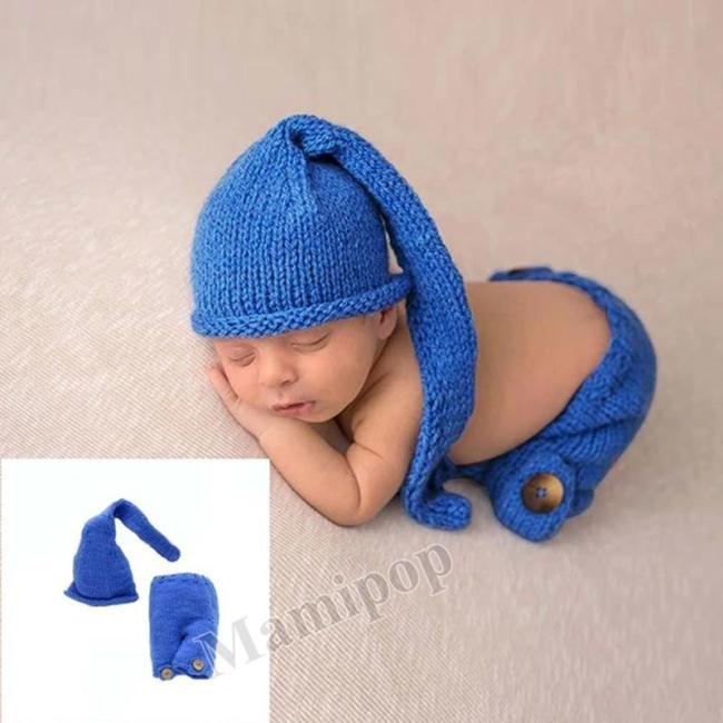 Dark blue handmade sweater baby set new photo propnewborn long tail hat cute baby clothes