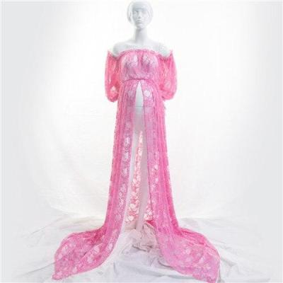 Maternity Photography Props Pregnancy Fancy Dress Lace Robe Strapless Maxi Gown Maternity Dress