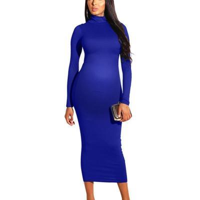 Maternity Pure Color Long Sleeve Hip Dress