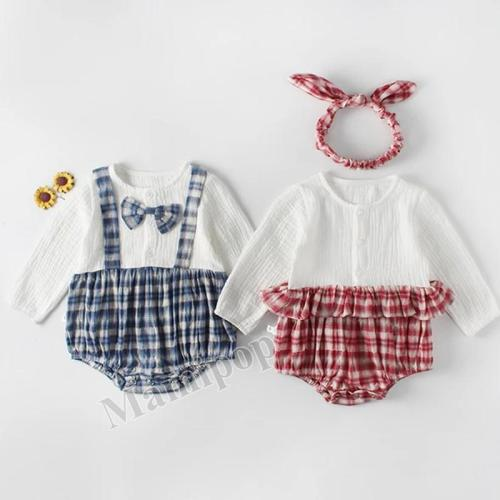 2020 Autumn New Plaid Splicing Brother and Sister Baby's  One-piece Hardcover Creeper