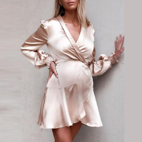 Maternity Cross V-neck solid color straps temperament slim dress
