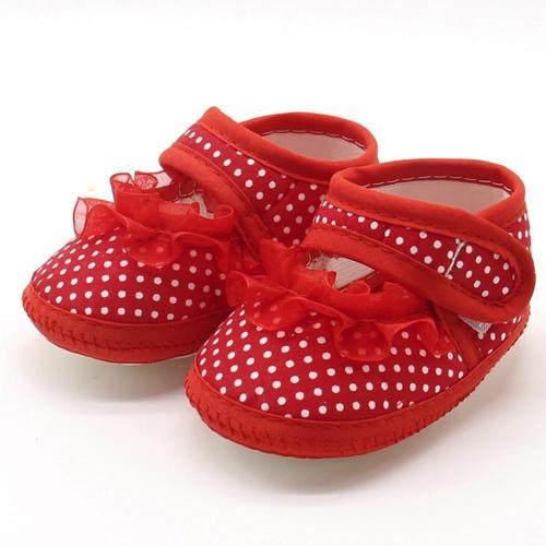 Dot Lace Soft Sole Prewalker Warm Casual Flats Shoes Newborn First Walker Sole Anti-Slip Shoes
