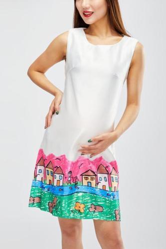 Mom Girl Graffiti Zipper Back Sleeveless Dress