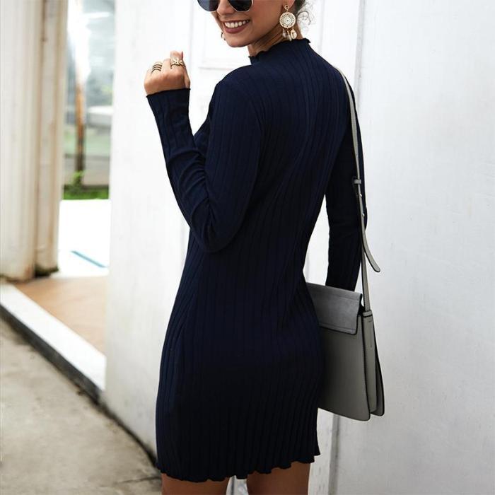 Maternity Long Sleeve Pure Color Dress