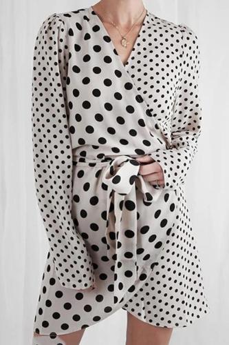 Maternity Polka-Dotted Skirt V-Neck Strap Dress