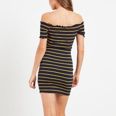 Maternity Ruffled Off-Shoulder Splicing Short-Sleeved Striped Dress