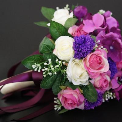 Wedding Bouquet Artificial Silk Rose Peony Flower Bride Bouquet Pink Hydrangea Pompom Bud Vanilla Spike Wedding Supplies