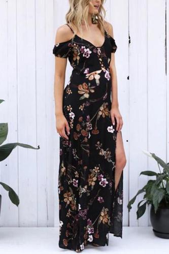 Maternity V-Neck Printed Halter Maxi Dress