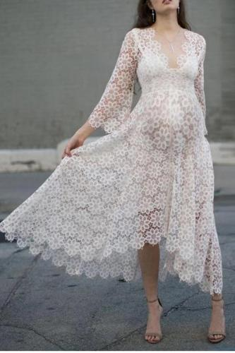 Maternity Floral Lace Long Sleeve V Neck Dress