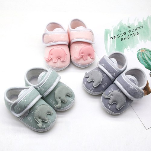 2020 New baby shoes fashion Infant Newborn Baby Girls Boy Prewalker Printing Elephant Applique Single Shoes
