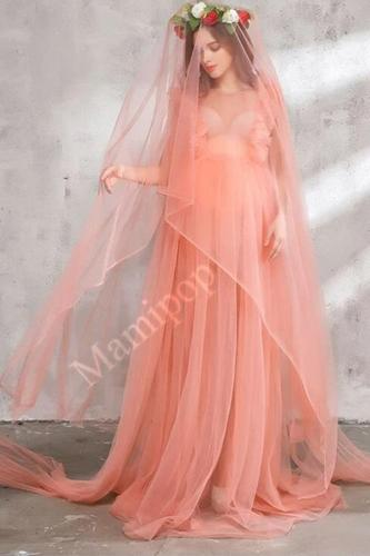 4pcs/Set Maternity Maxi Dress for Photography Chiffon Maternity Gown