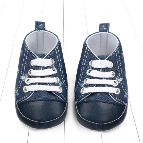 Boys Lace Up Denim Heart Toddler First Walk Soft Leather Shoes baby shoes