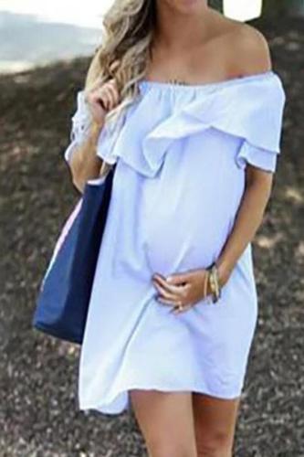 Women Maternity Off Shoulder Pregnancy Solid Sundress Sexy Dress