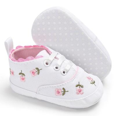 White Lace Floral Embroidered Soft Crib Shoes Prewalker Walking Toddler Kids Sneakers Canvas Shoes