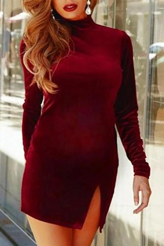 Casual Solid Color Collar Split Dress