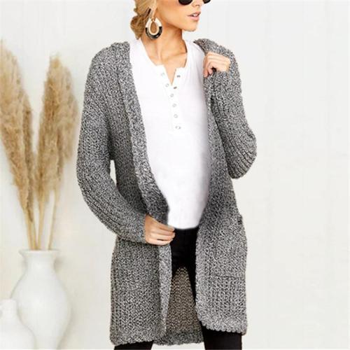Maternity Knit Pocket Medium Length Hooded Cardigan