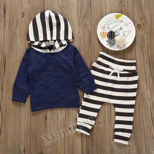 New boy's autumn pure cotton sweater hooded striped trousers